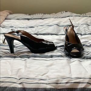 Black clarks open toe heels